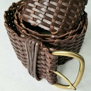 Talbots brown woven leather belt brass buckle Larg